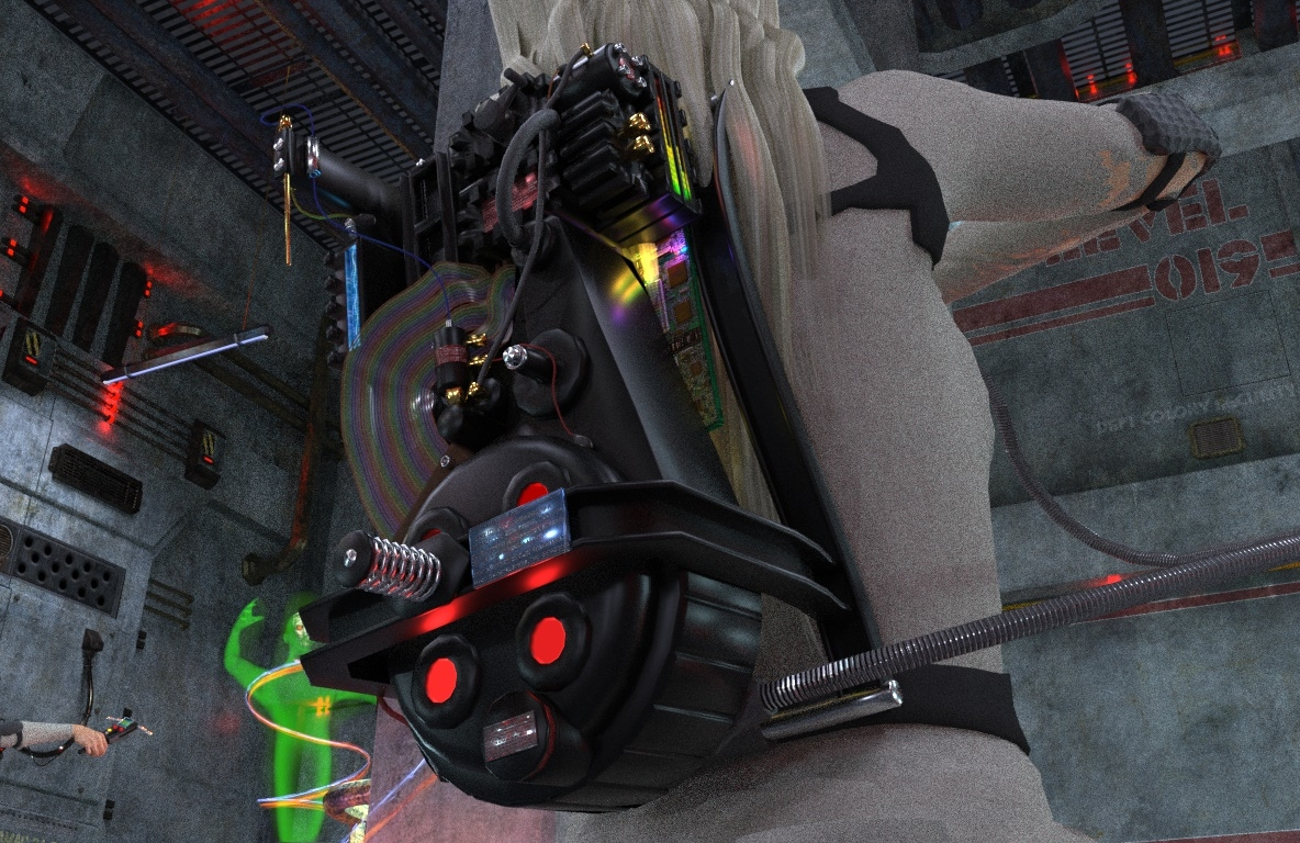 Ghostbusters 2020 proton pack on Roxie.jpg
